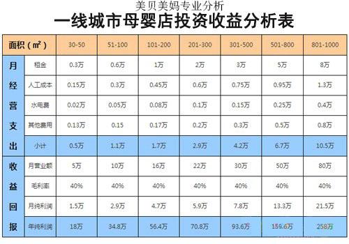 一线城市母婴店投资收益分析表