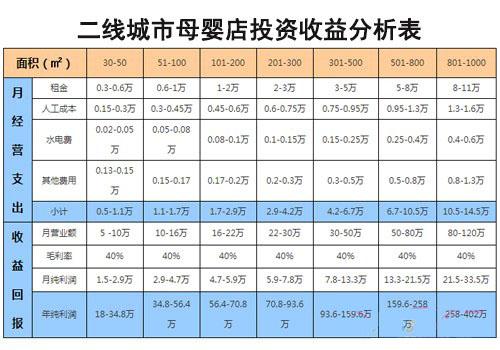 二线城市母婴店投资收益分析表